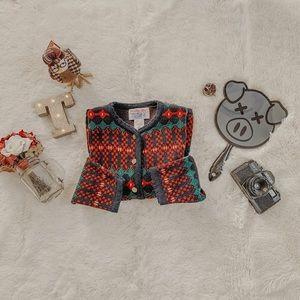 Vintage Buttoned Patterned Cardigan SZ m